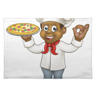 Black Pizza Chef Cartoon Mascot Placemat