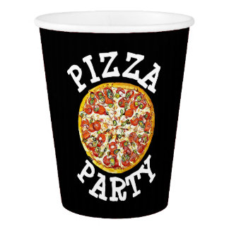 Black Pizza Party Birthday Party Paper Cups