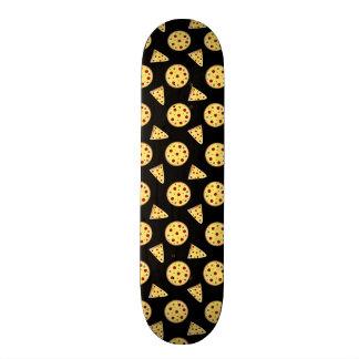 Black pizza pattern skateboard deck