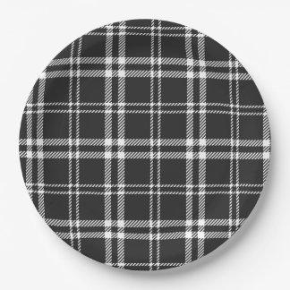Black Plaid 9 Inch Paper Plate