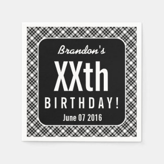 BLACK PLAID Any Year Birthday Party B05A Paper Serviettes