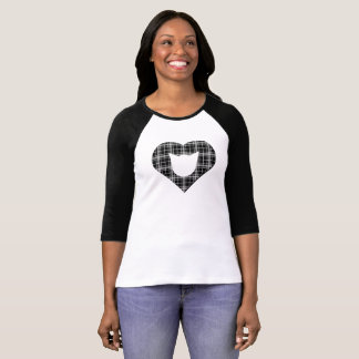 Black Plaid Cat/Heart Shirt