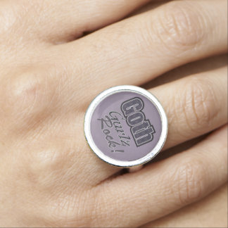 Black Plaid Goth Gurlz Rock Saying Ring