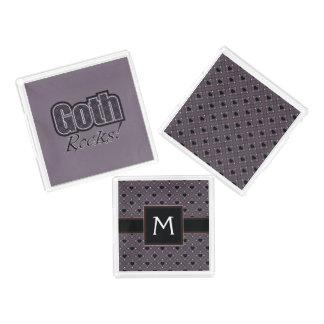 Black Plaid Goth Rocks Saying With Pattern Acrylic Tray