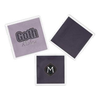 Black Plaid Goth Rulez Saying With Pattern Acrylic Tray