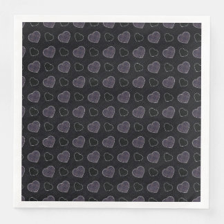 Black Plaid Hearts Pattern Disposable Napkin