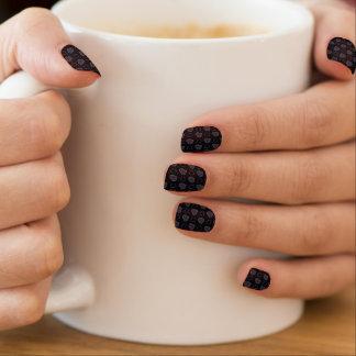 Black Plaid Hearts Pattern Minx Nail Art
