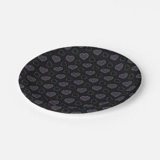 Black Plaid Hearts Pattern Paper Plate