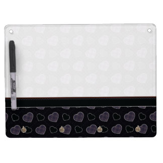 Black Plaid Hearts Pattern With Border Dry Erase Board With Key Ring Holder