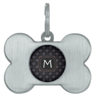 Black Plaid Hearts Pattern With Initial Pet Tag