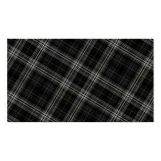 Black Plaid Pattern Background Business Card Template