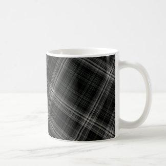 Black Plaid Pattern Background Mugs