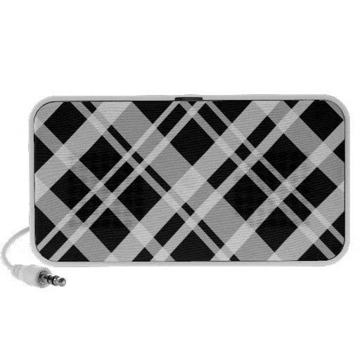 Black Plaid Pattern Doodle Speaker
