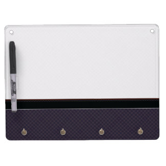 Black Plaid Pattern With Border Dry Erase Board With Key Ring Holder