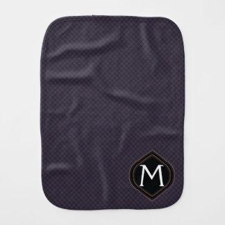 Black Plaid Pattern With Initial Burp Cloth