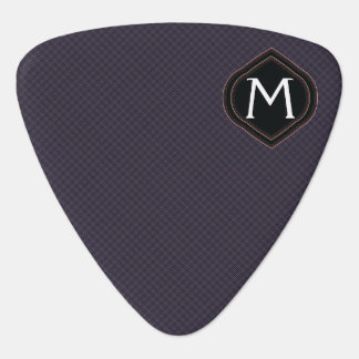 Black Plaid Pattern With Initial Guitar Pick