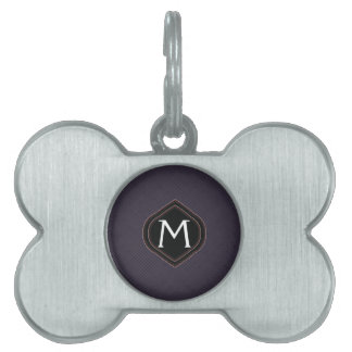 Black Plaid Pattern With Initial Pet Name Tag