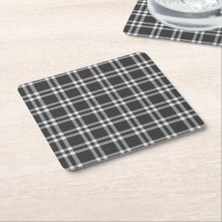 Black Plaid Square Paper Coaster