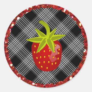 Black Plaid  Strawberry Stickers