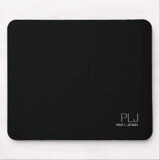 black plain color with name, simple & basic mouse pad