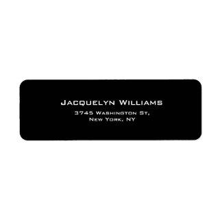 Black Plain Elegant Contemporary Unique Minimalist Return Address Label