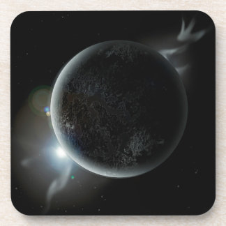 black planet 3d illustration in the universe coaster