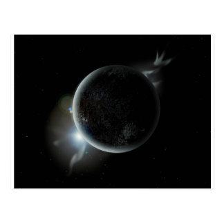 black planet 3d illustration in the universe postcard