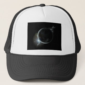 black planet 3d illustration in the universe trucker hat