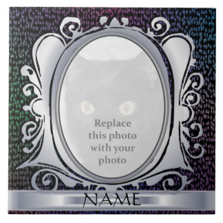 Black Plasma Oval Photo Frame with Name Tile