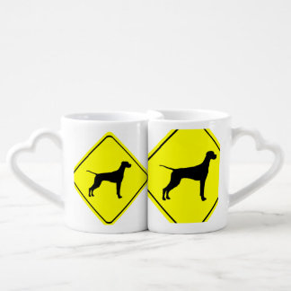 Black Pointer Dog Silhouette Caution Crossing Sign Lovers Mug Set