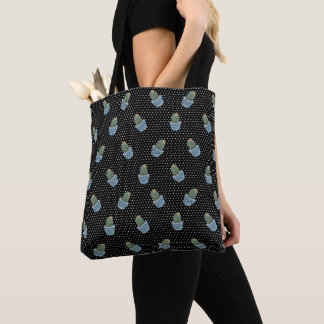 Black Polka Dot Cactus Pots Tote Bag