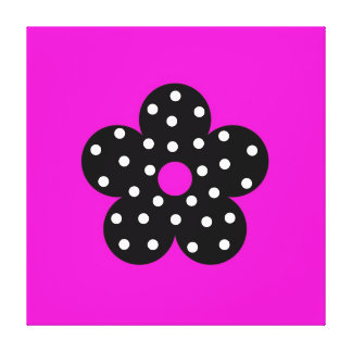 Black Polka Dot Flower on Hot Pink Background Gallery Wrap Canvas