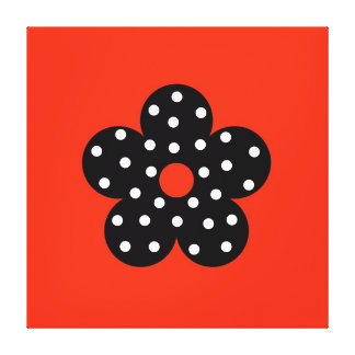 Black Polka Dot Flower on Orange Background Gallery Wrapped Canvas