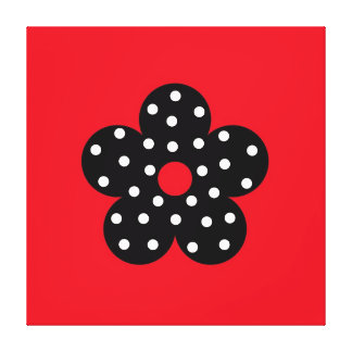 Black Polka Dot Flower on Red Background Canvas Print