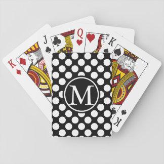 Black Polka Dot Monogram Playing Cards