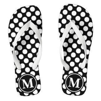 Black Polka Dot Monogrammed Thongs