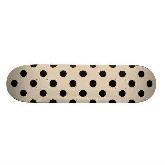 Black Polka Dot Pattern - Tan 20 Cm Skateboard Deck