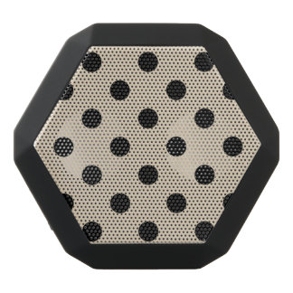 Black Polka Dot Pattern - Tan Black Bluetooth Speaker
