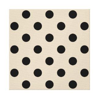 Black Polka Dot Pattern - Tan Canvas Print