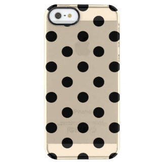 Black Polka Dot Pattern - Tan Clear iPhone SE/5/5s Case