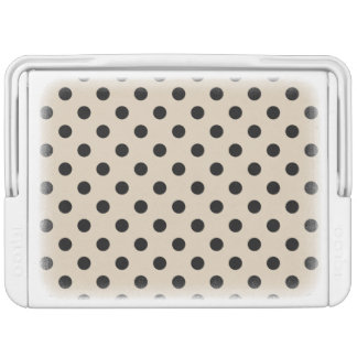 Black Polka Dot Pattern - Tan Cooler