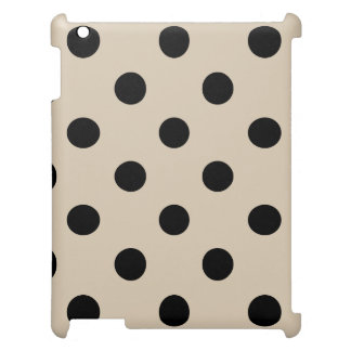 Black Polka Dot Pattern - Tan Cover For The iPad
