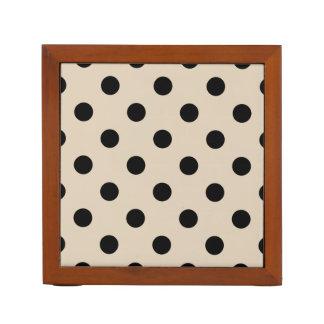 Black Polka Dot Pattern - Tan Desk Organiser