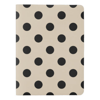 Black Polka Dot Pattern - Tan Extra Large Moleskine Notebook