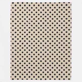 Black Polka Dot Pattern - Tan Fleece Blanket