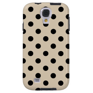 Black Polka Dot Pattern - Tan Galaxy S4 Case