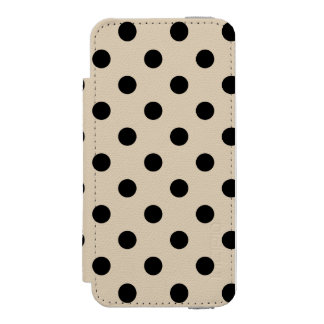 Black Polka Dot Pattern - Tan Incipio Watson™ iPhone 5 Wallet Case