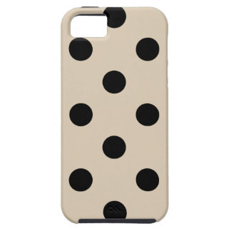 Black Polka Dot Pattern - Tan iPhone 5 Case