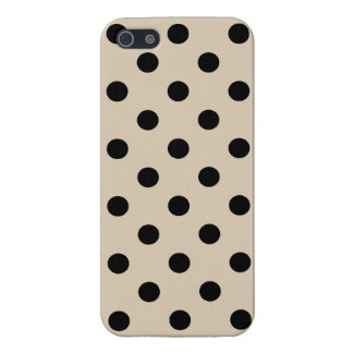 Black Polka Dot Pattern - Tan iPhone 5 Cover