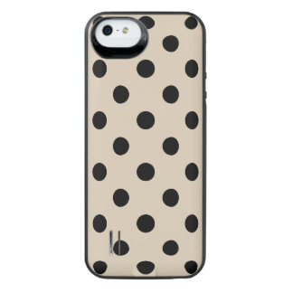 Black Polka Dot Pattern - Tan iPhone SE/5/5s Battery Case